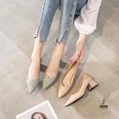 粗跟皮鞋女時候百搭軟皮舒適休閒單鞋【愛物及屋】