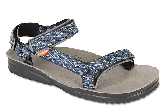 Lizard 義大利 Super Hike健行家黃金底涼鞋-真皮墊PU LI11078/EB藍彩紋 Vibram 涼鞋 拖鞋【易遨遊】