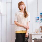 【Tiara Tiara】激安 民俗風針織寬版五分袖罩衫上衣(白/淺灰)