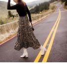 《CA1796》麂皮滿版豹紋腰鬆緊蛋糕裙 OrangeBear
