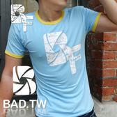奢華壞男~BF  款超舒適彈性合身剪裁T 恤藍底滾黃邊~~S M L XL XXL ~潮T 、上衣