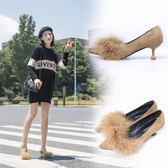 毛毛鞋  中跟高跟鞋尖頭優雅絨面細跟貓跟性感毛毛單鞋淺口宴會鞋  『伊莎公主』