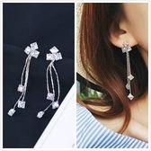 【NiNi Me】韓系耳環 氣質甜美優雅鋯石流蘇長款吊墬925銀針耳環 耳環 N0212