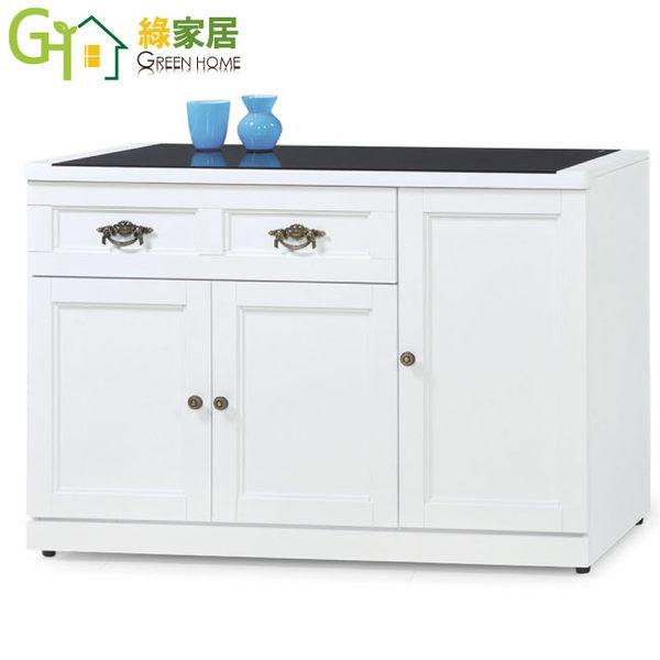 【綠家居】史托斯 典雅白3.8尺玻璃餐櫃/收納櫃