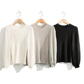秋冬7折[H2O]拼接蕾絲大泡袖針織羅紋線衫 - 黑/白/淺灰綠色 #0630025