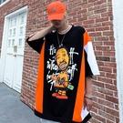 拼接撞色嘻哈潮牌體恤T恤 街頭潮流高街T恤 男生街舞中袖T恤 2021情侶女個性卡通短袖T恤