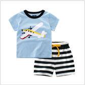 翱翔天空飛機 男童裝兩件式 T桖+褲子(90-120cm) 男童套裝 兒童套裝 夏季套裝【巴布百貨】