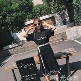 T恤裙 超火的洋裝女20小心機顯瘦學生文藝港味原宿T恤裙子 綠光森林