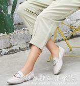 方頭鞋春韓版平跟輕便時尚少女金屬圓環溫柔氣質樂福鞋女 科炫數位