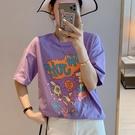 印花上衣 夏季時尚紫色短袖t恤女純棉白色寬鬆正韓印花半袖上衣-Ballet朵朵