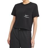 Nike AS W NSW Swsh SS Top 女 黑 短版 運動 休閒 短袖 CZ8912-010
