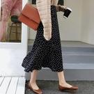 新款雪紡半身裙女夏時尚波點印花中長款高腰包臀魚尾裙裙子 智慧 618狂歡