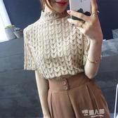 2020新款夏裝小清新復古蕾絲打底衫短袖立領雪紡衫小衫上衣服女潮