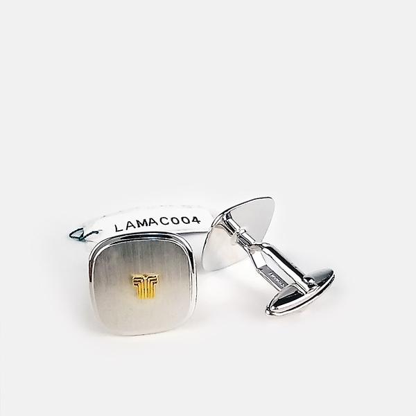 [ NG大放送 ]LANVIN經典LOGO双色金屬袖扣(銀色)880062-17