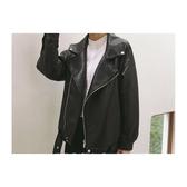皮衣 素色 翻領 拉鏈 PU 夾克 長袖 外套【KLY74】 ENTER