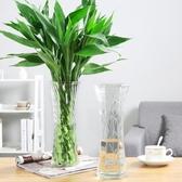 現代簡約玻璃花瓶透明大號富貴竹百合水培鮮花插花裝飾擺件六角瓶