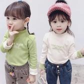 女童上衣 秋冬裝新款女童加絨T恤打底衫純色上衣0-1-2-3-4-5歲女