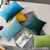 新款純色天鵝絨沙發靠墊抱枕靠枕辦公室靠背長方形腰枕套含芯 莫妮卡小屋 igo