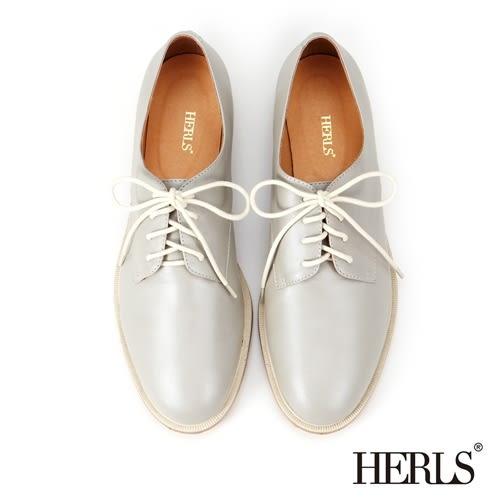 HERLS 牛津鞋 全真皮 簡約 綁帶德比鞋-淺灰色