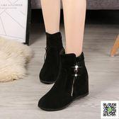 靴子女新款薄馬丁靴百搭內增高加絨冬靴秋季短靴網紅靴子同款 聖誕慶免運