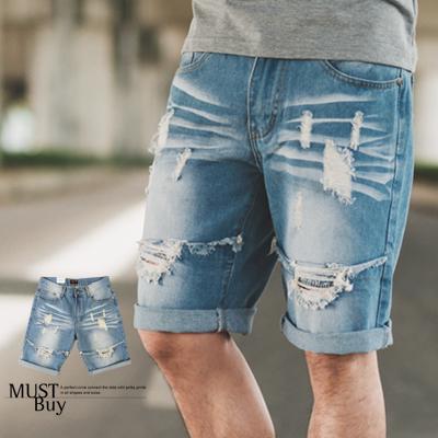 短褲 破壞感割破淺藍刷色牛仔短褲【N9858J】
