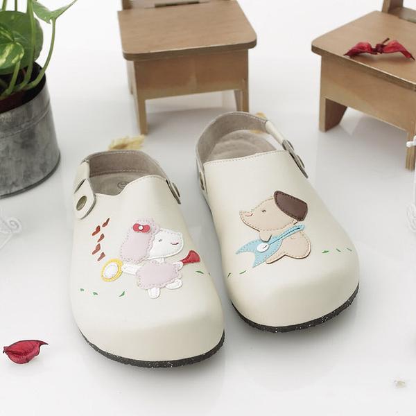 【Jingle】我的夢幻寶貝前包後空軟木鞋(米色大人款)