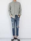 【找到自己】韓國 高品質 破褲 不規則 刷破   聖羅蘭 牛仔 窄管