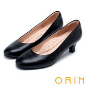ORIN 簡約時尚OL 素面雅致牛皮中跟鞋-黑色