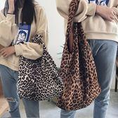 柔軟麂皮絨豹紋花紋肩背大包/手提購物袋 2色【F929205】