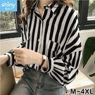 【V2601】shiny藍格子-氣質撞色‧條紋前排釦假口長袖襯衫