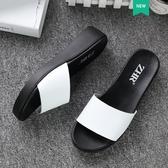 拖鞋女 ZHR夏季新款時尚外穿坡跟厚底拖鞋女涼拖鞋百搭女士真皮