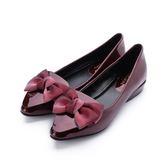 DBL 軟漆皮蝴蝶結低跟鞋 酒紅 A2568-3 女鞋 鞋全家福