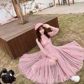 洋裝 仙女范名媛法式復古網紗燙鉆亮片大擺套禮服連身裙 糖果時尚