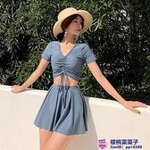 小香風韓版INS簡約小胸分體裙式兩件式復古顯瘦平角溫泉游泳衣女大碼泳裝品牌【櫻桃】