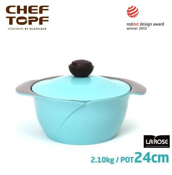 韓國 CHEF TOPF La Rose玫瑰鍋 雙柄湯鍋(同色蓋) 24cm ※限宅配