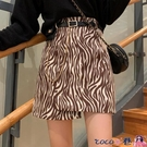 熱賣短褲 半身裙女裝春秋2021年新款斑馬紋高腰顯瘦A字裙不規則包臀短裙子 coco