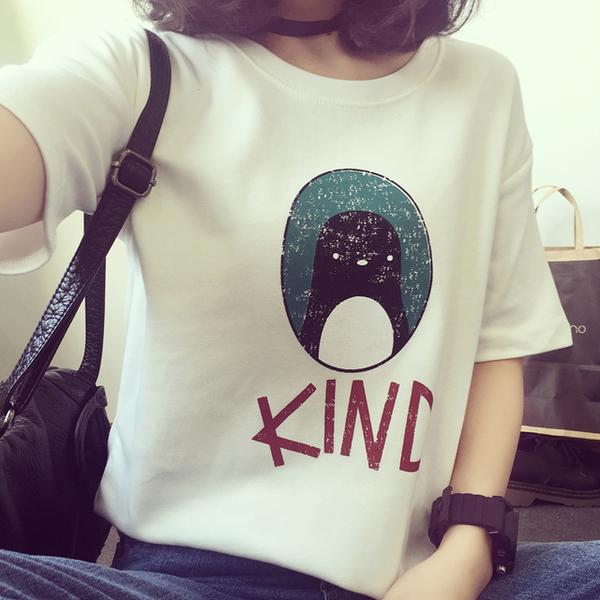 (免運)DE shop - 企鵝蛋KIND字母短袖T恤 - T-423