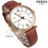 FOSSIL 羅馬風情 晶鑽魅力 氣質女伶 女錶 防水手錶 真皮 玫瑰金x咖啡 ES4428【時間玩家】