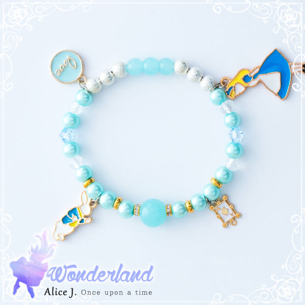 藍色夢幻浪漫愛麗絲兔兔訂製能量水晶手鍊