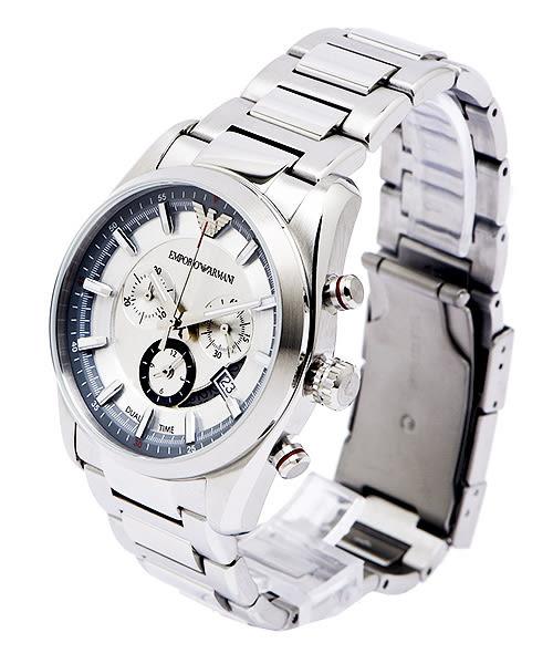 EMPORIO ARMANI  (AR6036) 知性雅致三眼計時男性手錶-銀灰/42mm