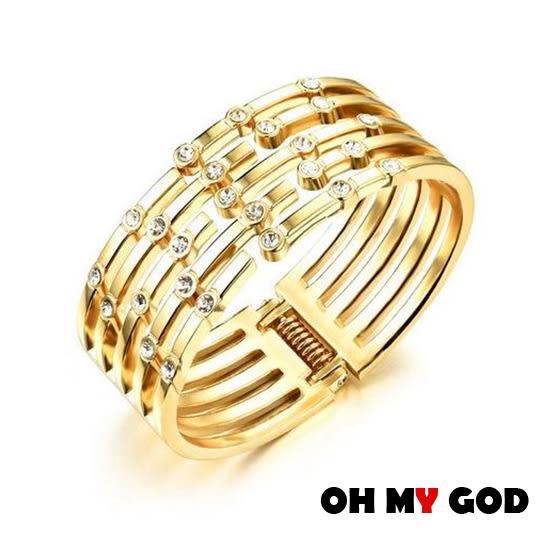 OH MY GOD五幅環鑲鑽銅鍍金手環