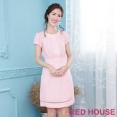 【RED HOUSE 蕾赫斯】點點滾邊拼接素面洋裝(粉色)
