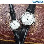 CASIO卡西歐 LTP-1095E-7A+MTP-1095E-7A 經典簡約時尚皮帶腕錶 情人對錶 情侶 圓錶 黑