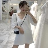 夏季新款寬鬆純色慵懶風T恤中長款韓版開叉打底短袖上衣女裝 三角衣櫃