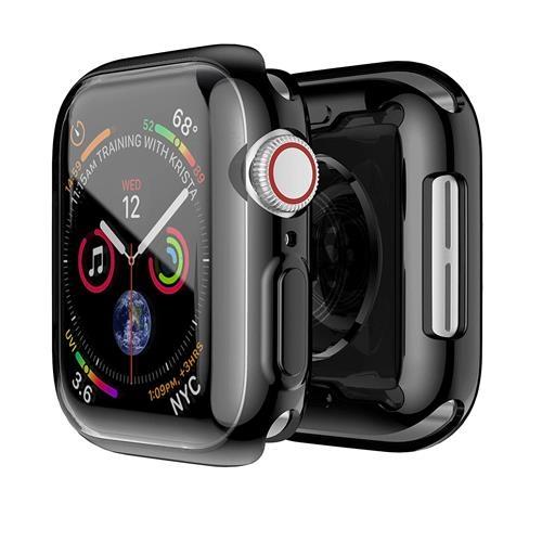 【美國代購】微笑黑色錶殼 適用於Apple Watch系列4 44mm帶Buit in TPU透明屏幕保護貼