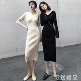 秋法式復古v領修身針織打底裙坑條中長款氣質顯瘦長袖洋裝 雙12全館免運