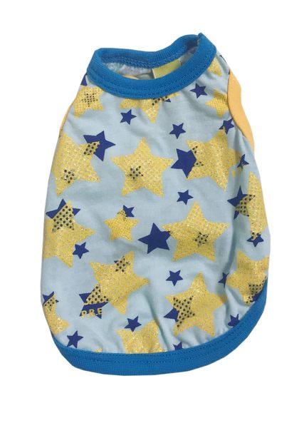 [熊熊e-shop] 黃色星星圖案背心 4S號 寵物衣服 狗衣服