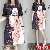 女孩側臉圖案短袖連衣裙 XL-5XL O-ker歐珂兒 168816-C