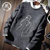毛衣秋冬季男士外套頭韓版刺繡潮流個性針織衫學生加厚保暖圓領毛衣男99免運 二度3C