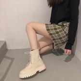 靴子 馬丁靴女針織靴2019秋季新款時尚英倫風百搭系帶厚底拼接短靴子【快速出貨】